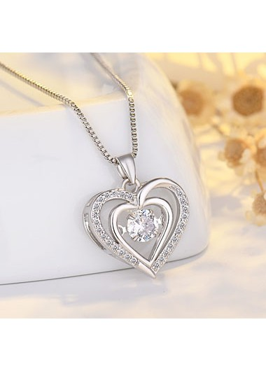 Rosewe coupon: Mother's Day Gifts 17.7 Inch Silver Heart Pendant Necklace - One Size