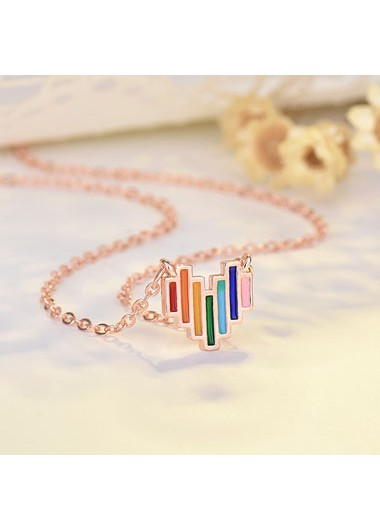 Rosewe coupon: Mother's Day Gifts 17.7 Inch Metal Multi Color Heart Design Necklace - One Size