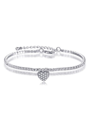 Rosewe coupon: Mother's Day Gifts Rhinestone Heart Design Silver Metal Bracelet - One Size