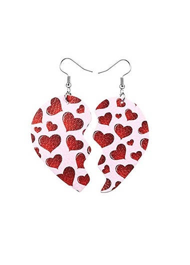 Rosewe coupon: Mother's Day Gifts Faux Leather Heart Print Earring Set - One Size