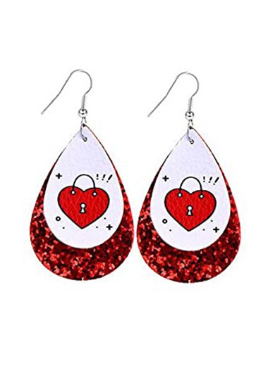 Rosewe coupon: Mother's Day Gifts Water Drop Design Faux Leather Sequin Earring Set - One Size