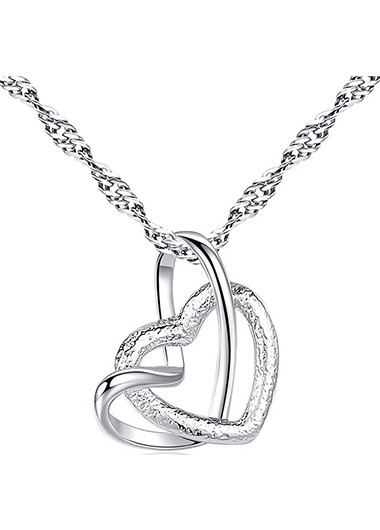 Rosewe coupon: Mother's Day Gifts Double Heart Design Silver Metal Necklace - One Size