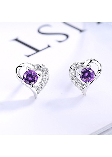 Rosewe coupon: Mother's Day Gifts 0.3 X 0.3 Inch Silver Heart Shape Ear Studs - One Size