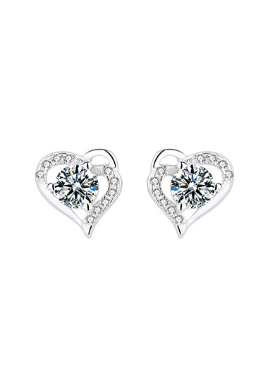 Rosewe coupon: Mother's Day Gifts 0.4 X 0.4 Inch Silver Rhinestone Heart Ear Studs - One Size