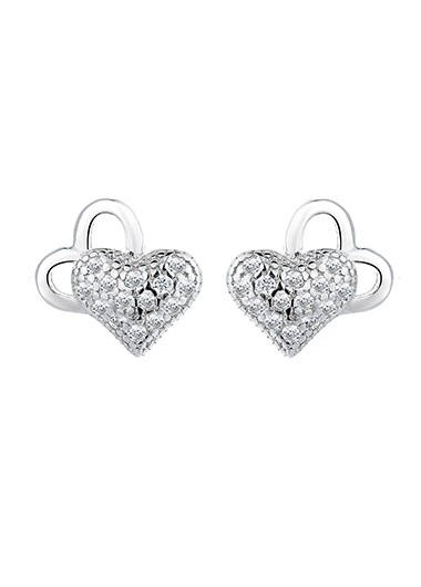 Rosewe coupon: Mother's Day Gifts 0.3 X 0.3 Inch Rhinestone Silver Heart Ear Studs - One Size