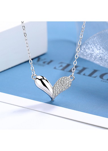 Rosewe coupon: Mother's Day Gifts Heart Design Silver Rhinestone Detail Necklace - One Size