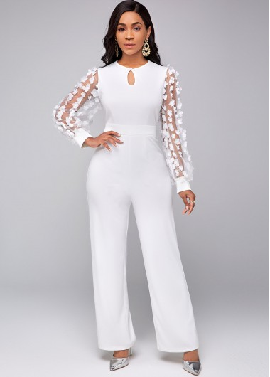 Rosewe coupon: Rosewe Long Sleeve Lace Stitching Keyhole Neckline Jumpsuit - M