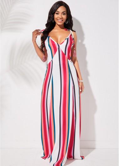 Rosewe coupon: Rosewe Wedding Guest Dress Tassel Tie Striped Spaghetti Strap Dress - M