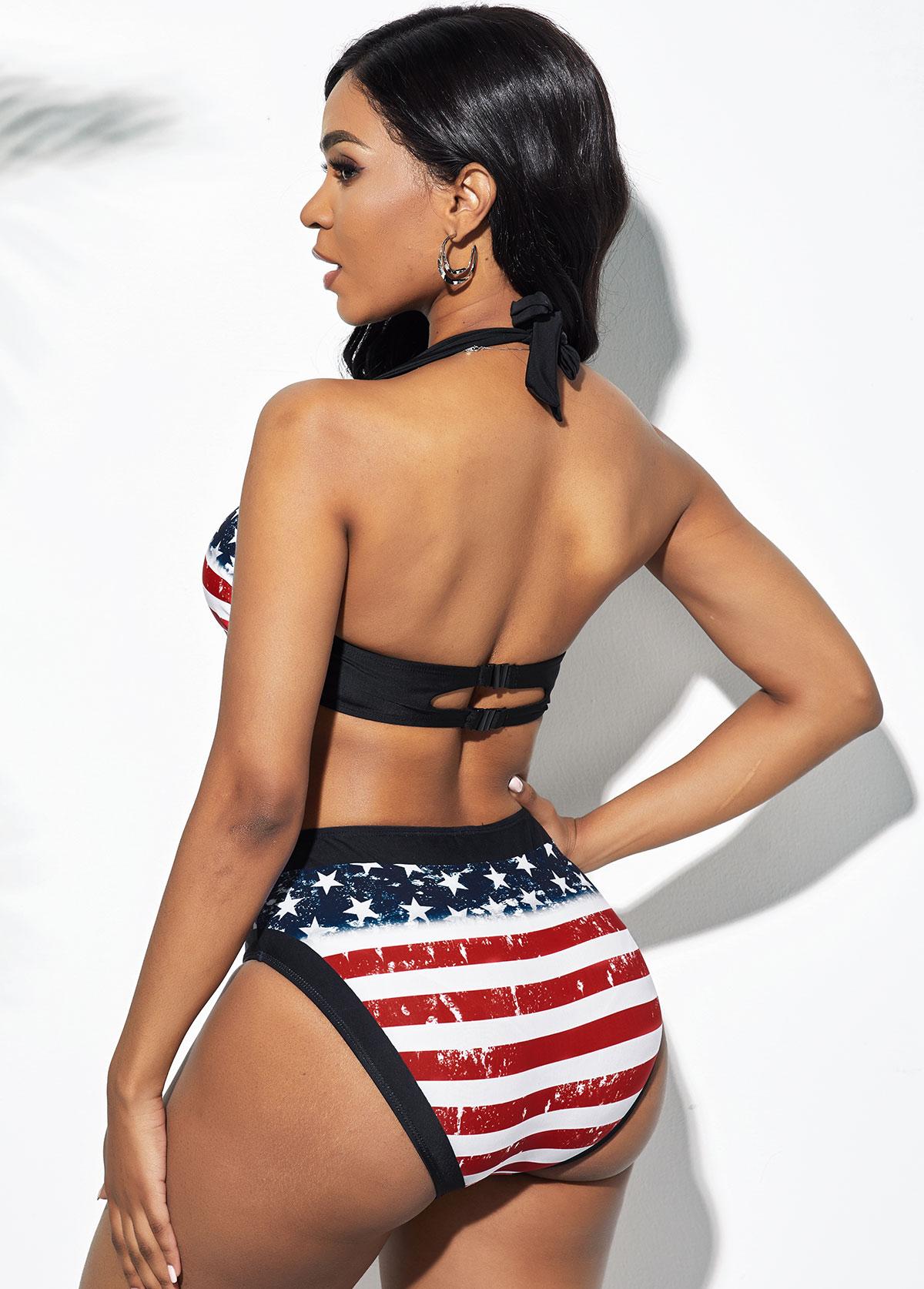 Halter American Flag Print Bowknot Detail Bikini Set