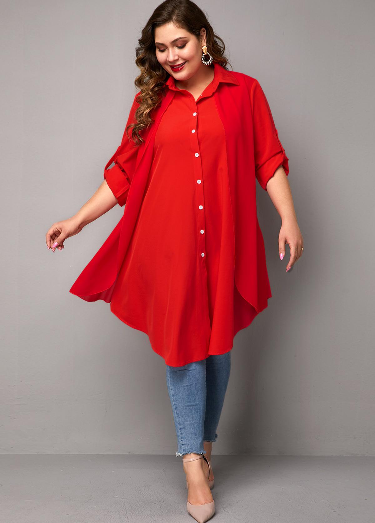 Button Up Plus Size Asymmetric Hem Blouse