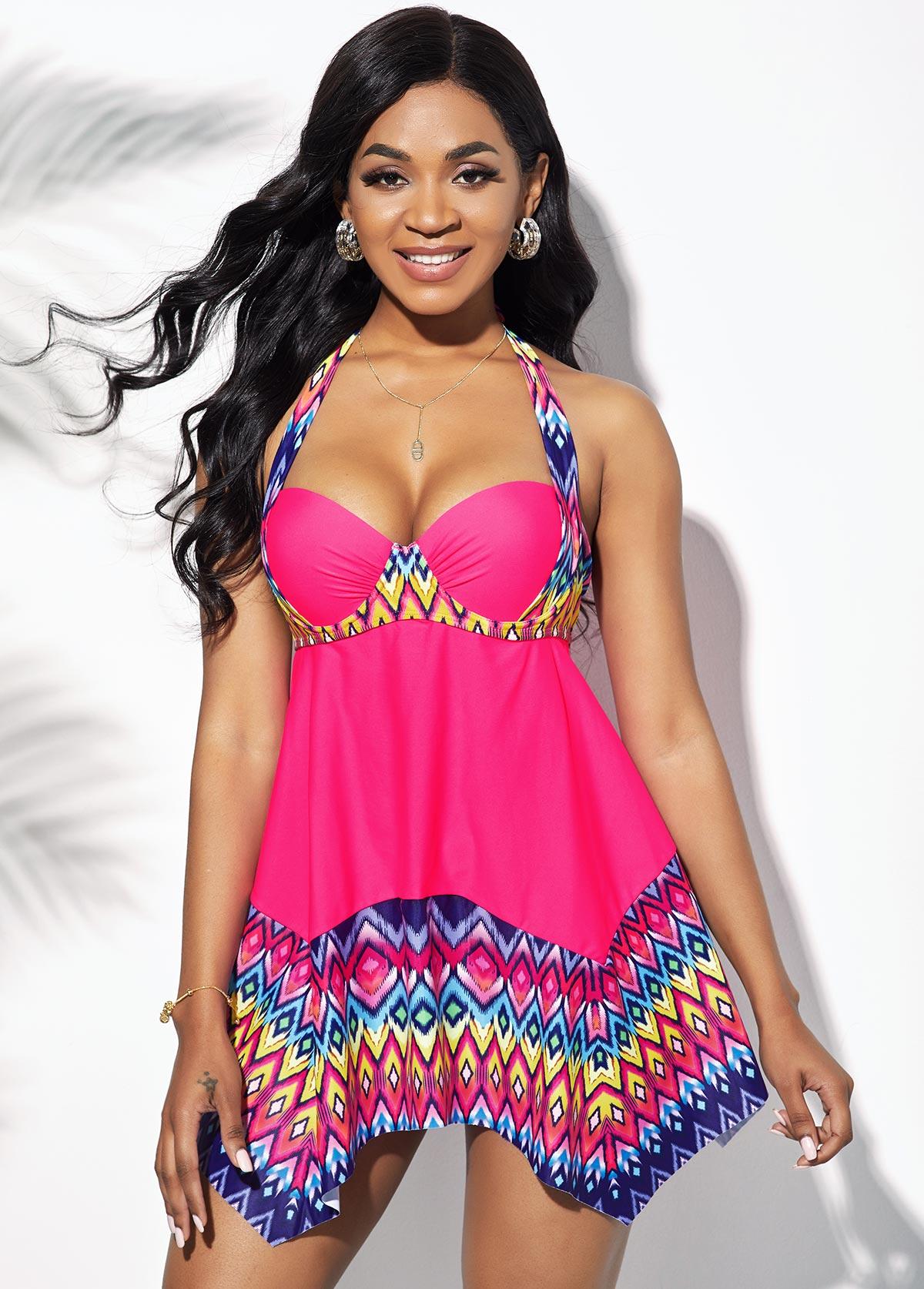 Rose Pink Geometric Print Asymmetric Hem Swimdress and Panty