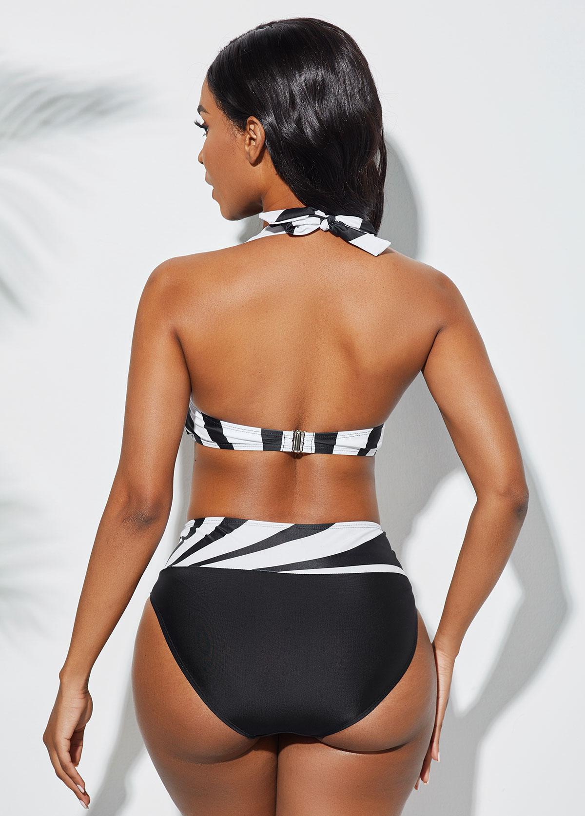 Color Block Halter Geometric Print Bikini Set