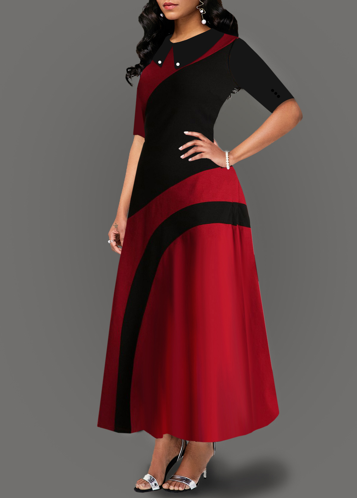 Turndown Collar Side Pocket Contrast Maxi Dress