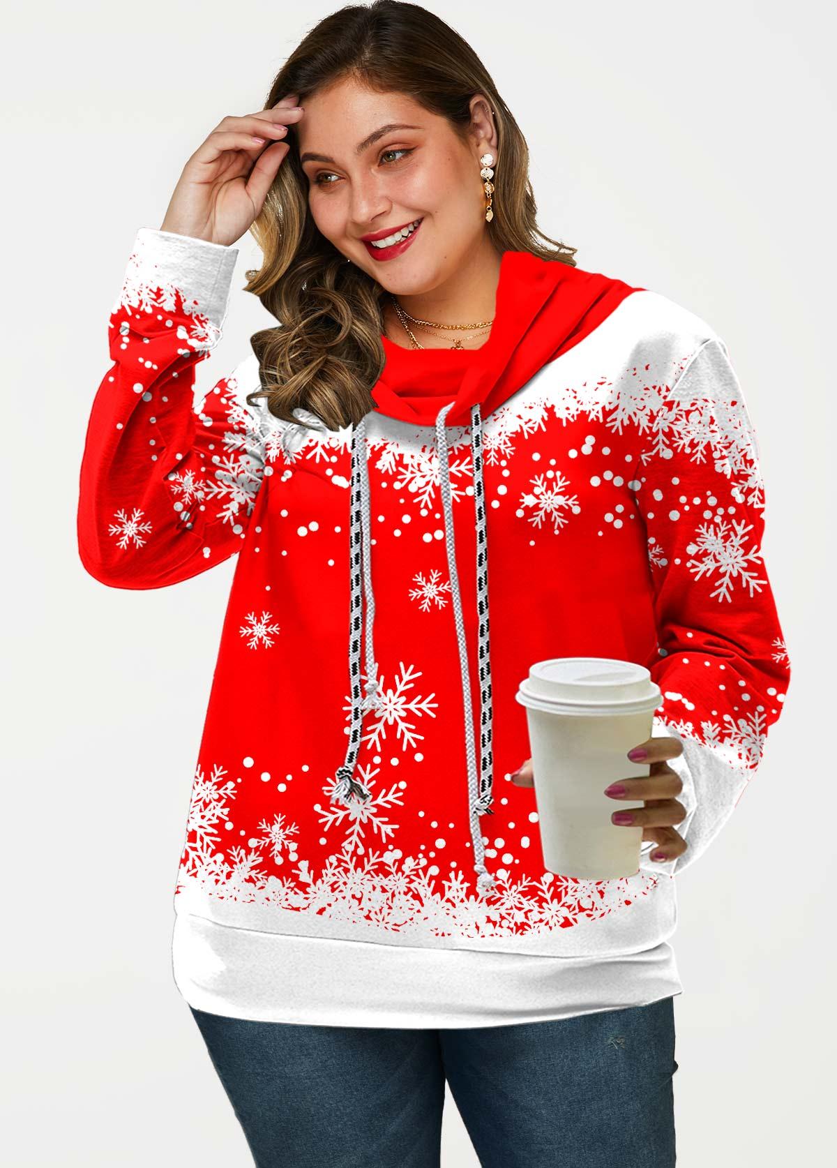 Plus Size Drawstring Snowflake Print Sweatshirt