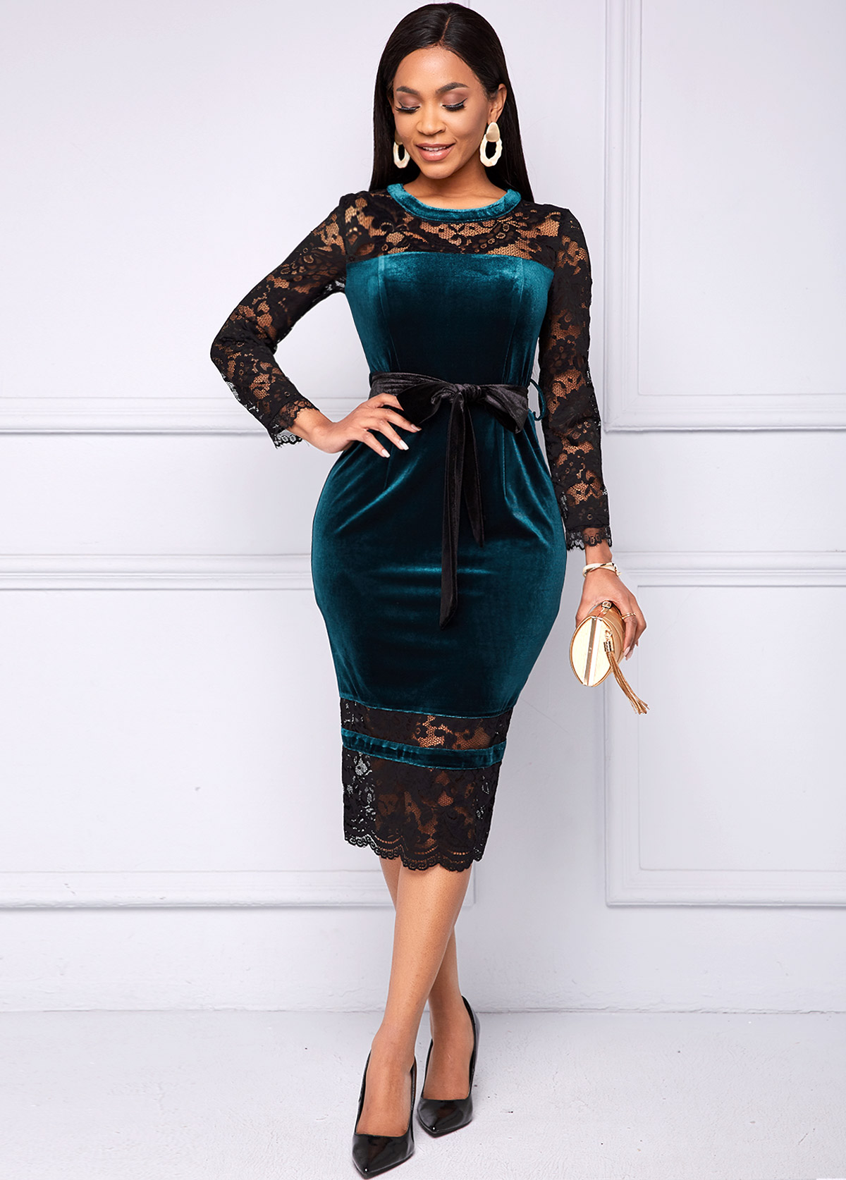 Belted Lace and Velvet Stitching Long Sleeve Dress