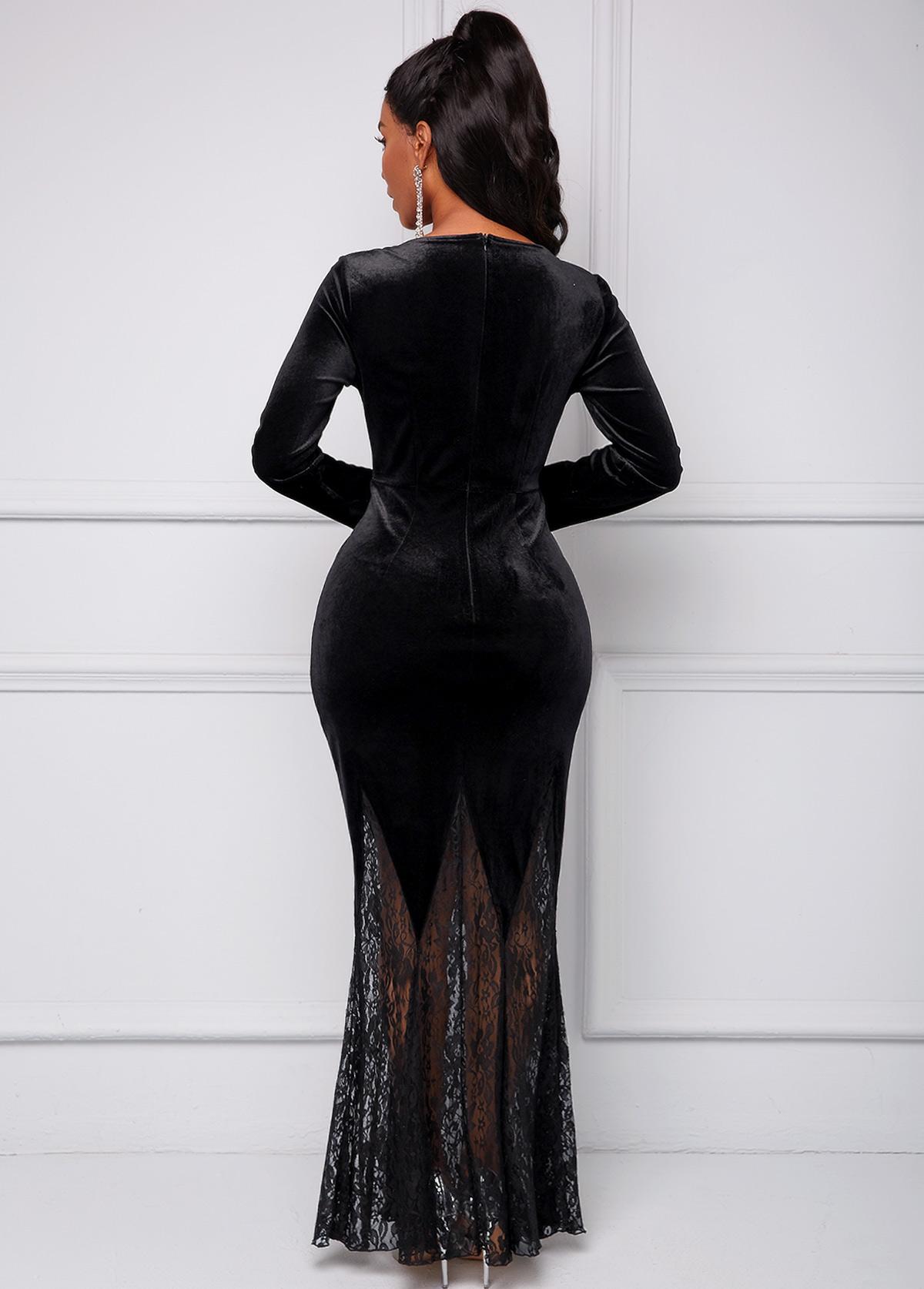 Long Sleeve Lace Stitching V Neck Dress