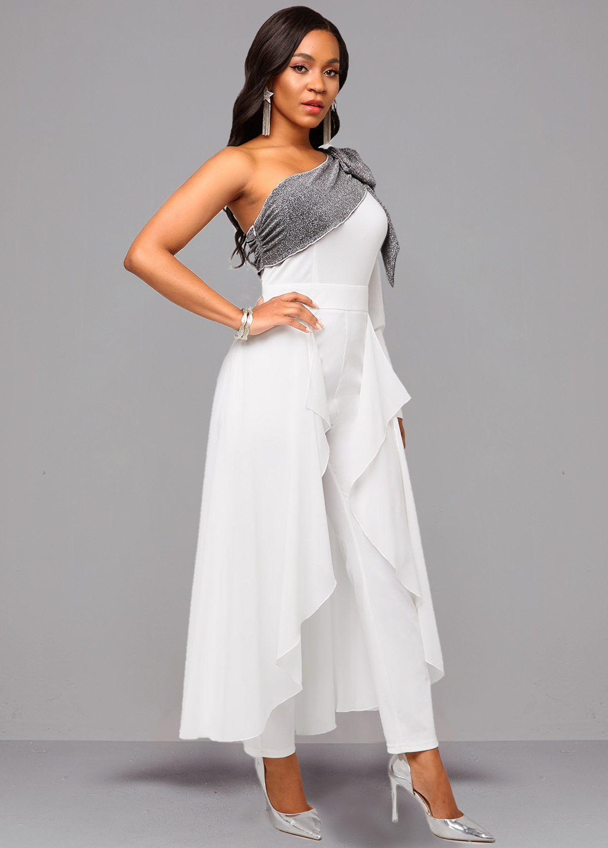 White One Sleeve Tie Side Jumpsuit