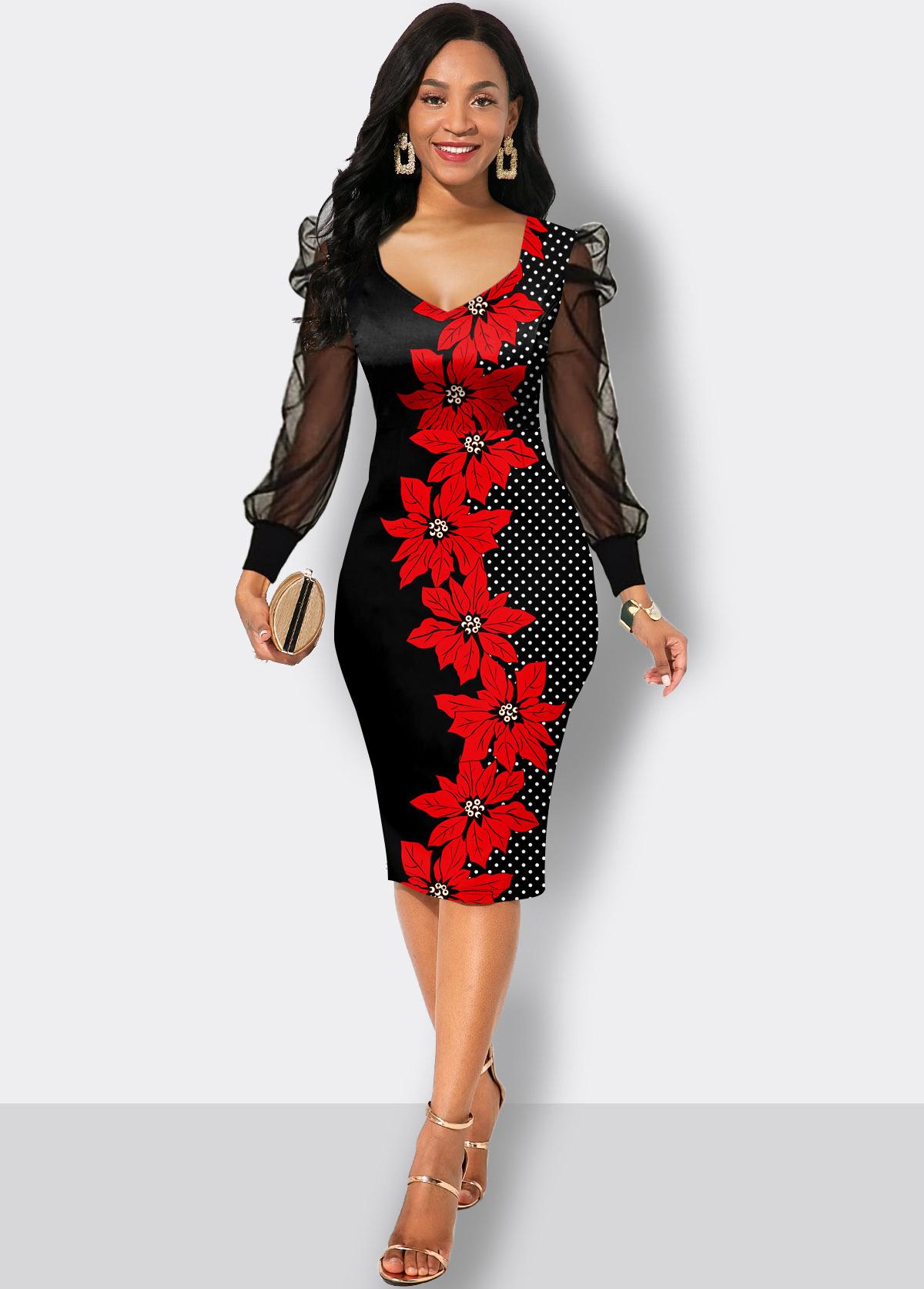 Floral Print Mesh Long Sleeve Sheath Dress