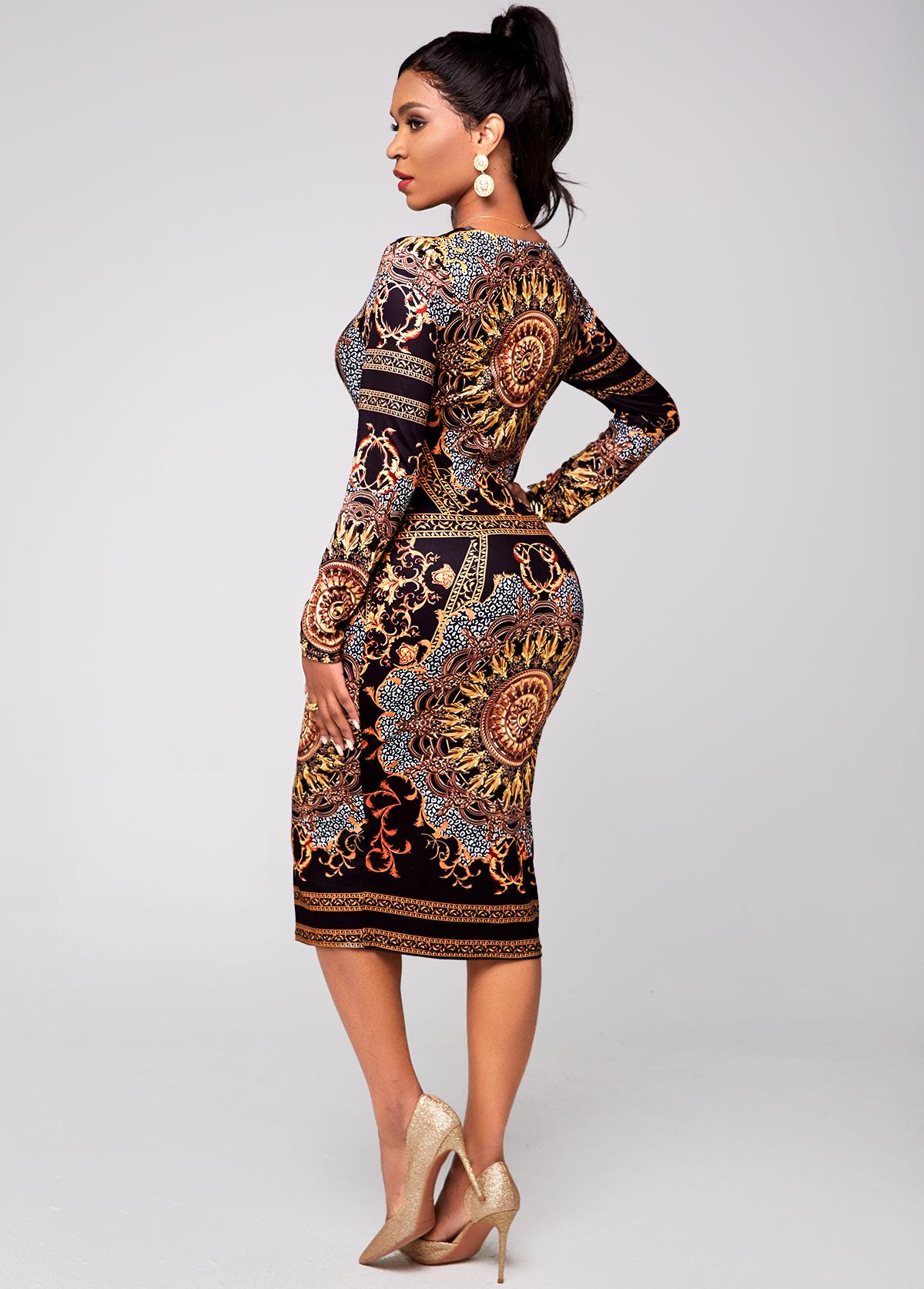 Long Sleeve Tribal Print V Neck Dress