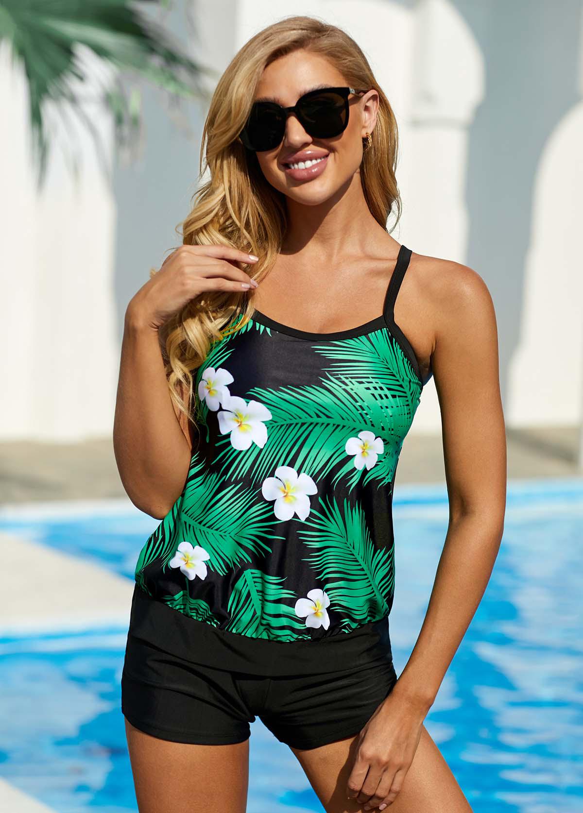 Spaghetti Strap Tropical and Floral Print Swimwear Top