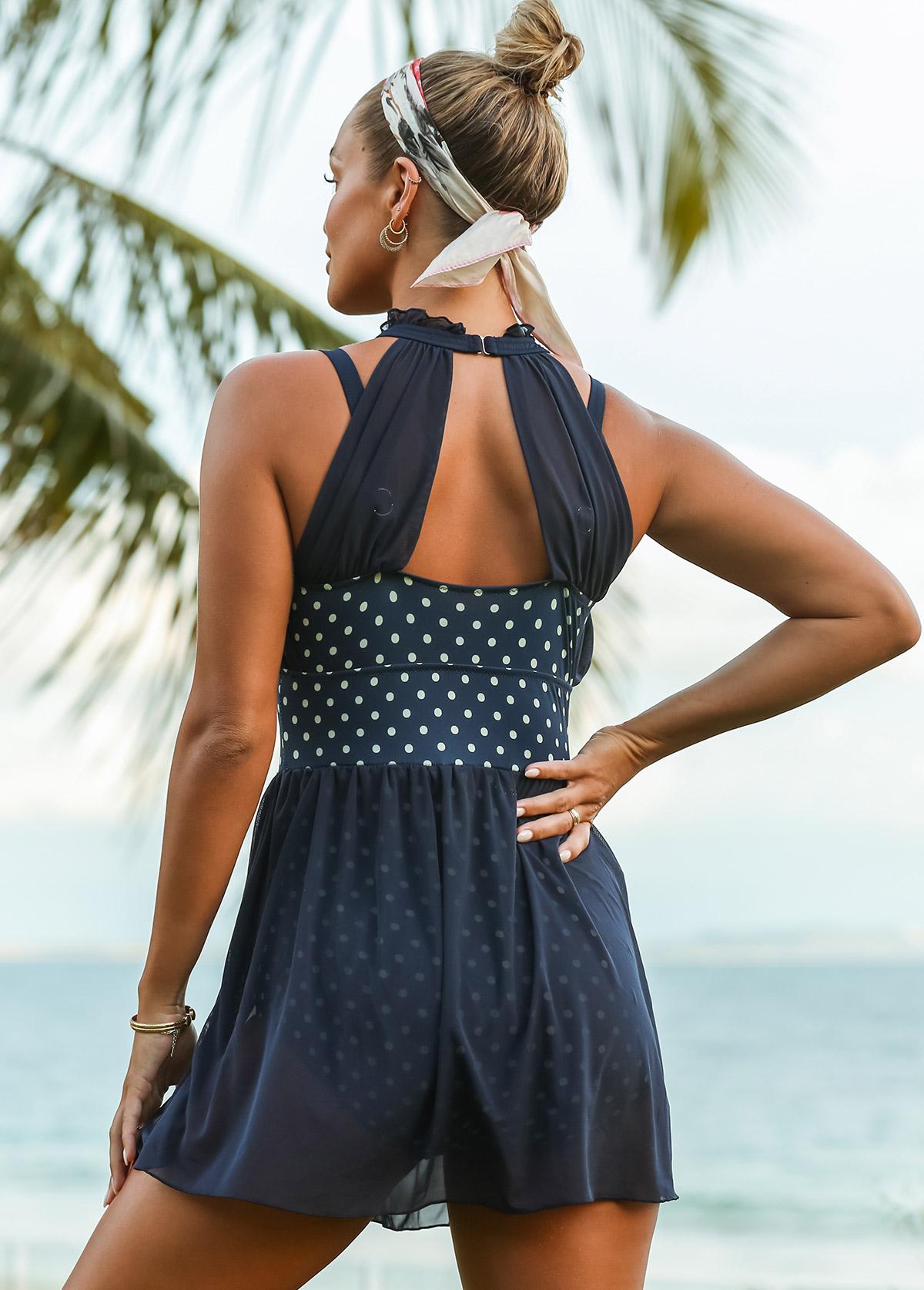 Polka Dot Cutout Back One Piece Swimwear