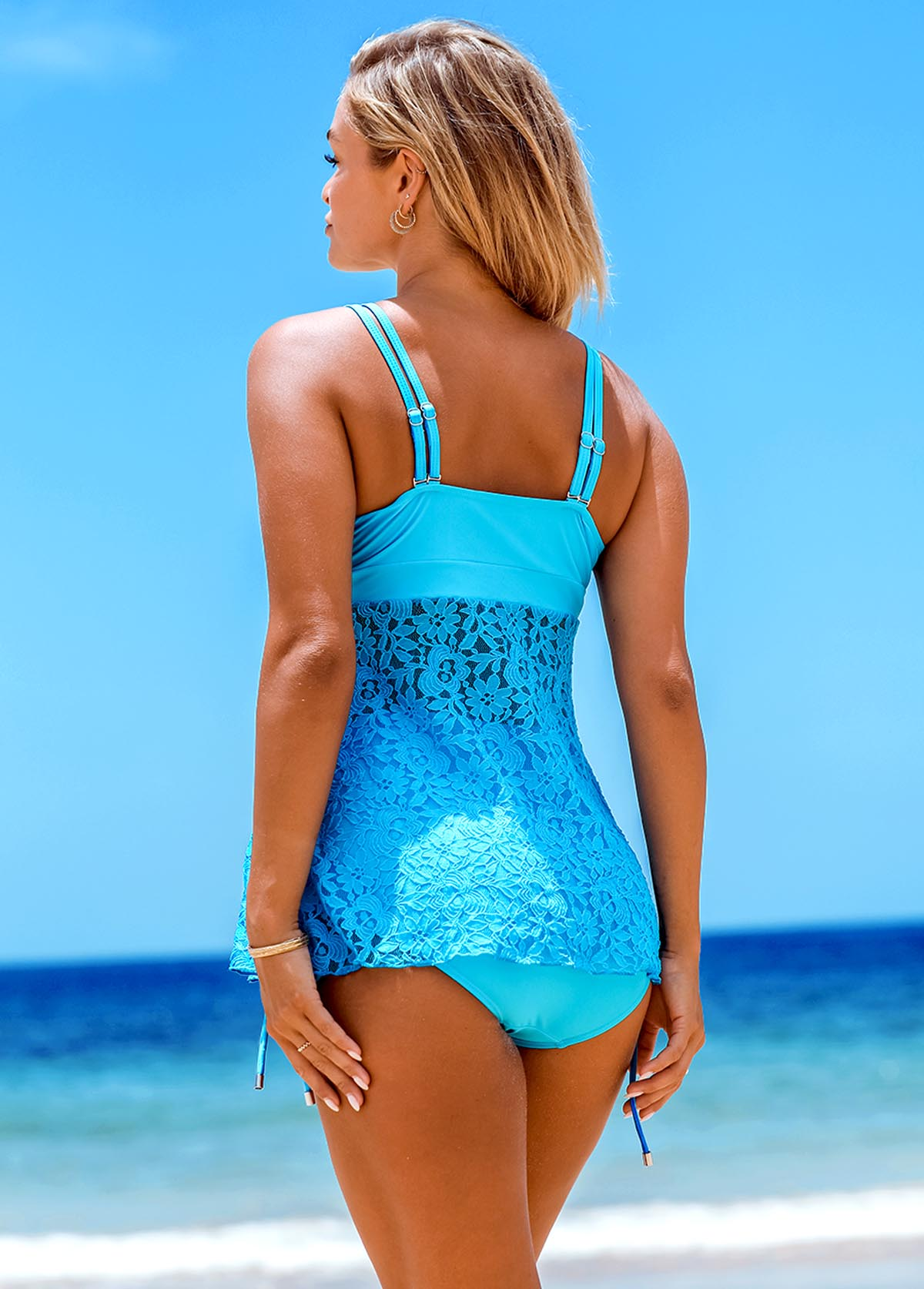 Knot Detail Lace Stitching Tankini Set