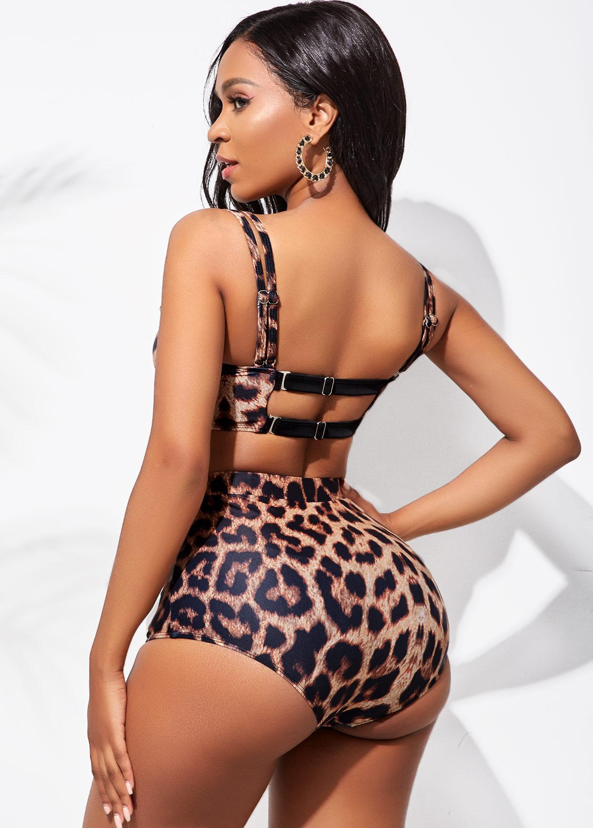 High Waist Leopard Double Strap Bikini Set