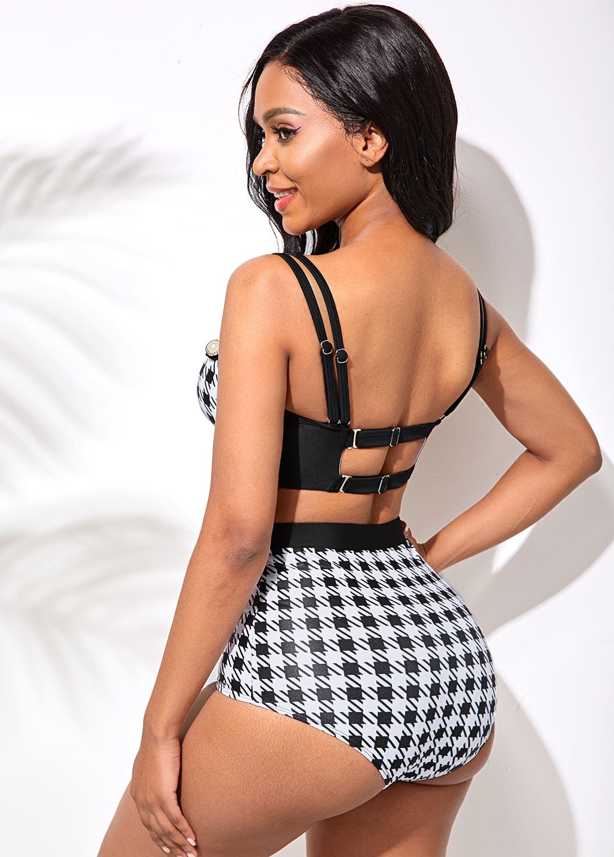 Double Strap High Waist Houndstooth Print Bikini Set