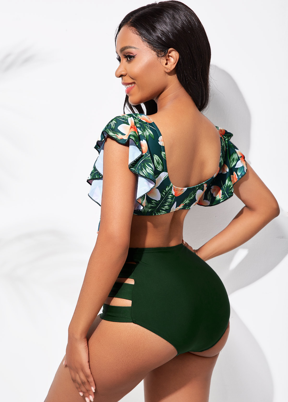 Floral Print Ladder Cutout Flounce High Waisted Bikini Set
