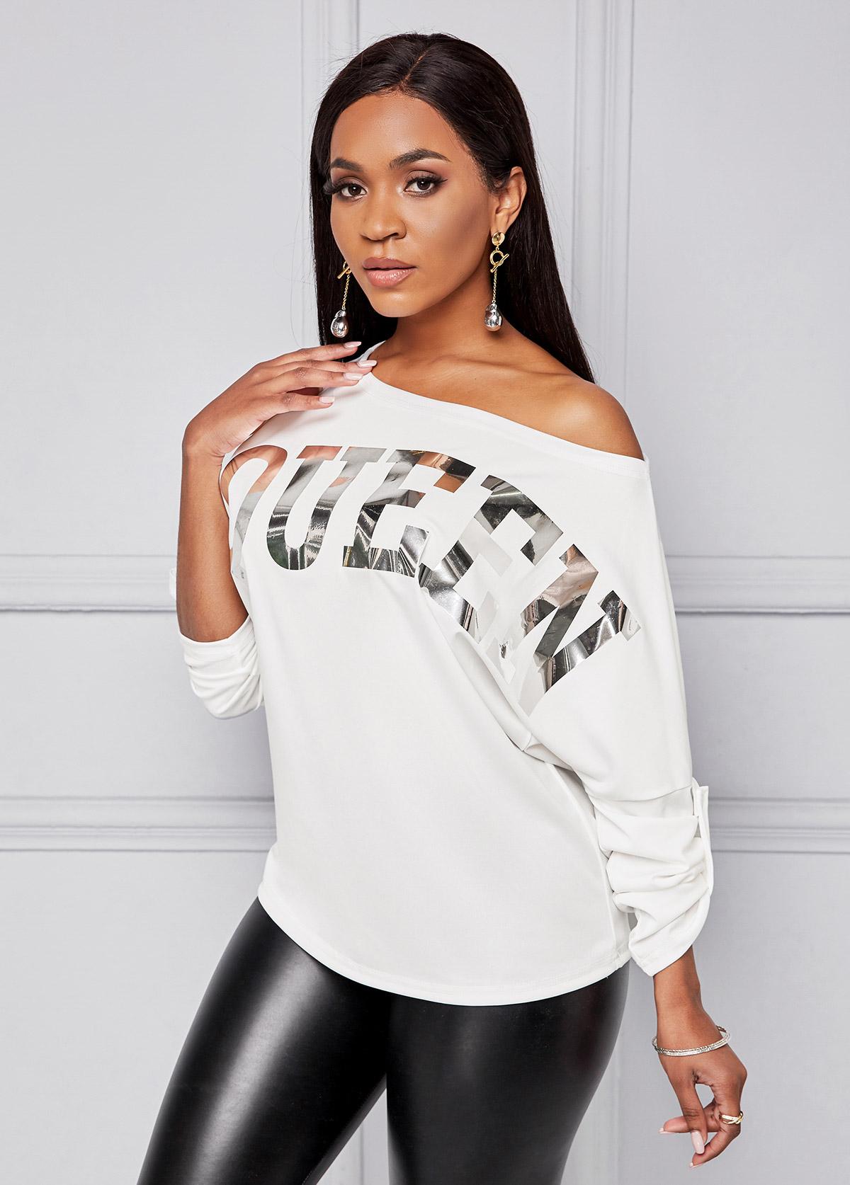 White Hot Stamping Letter Long Sleeve T Shirt