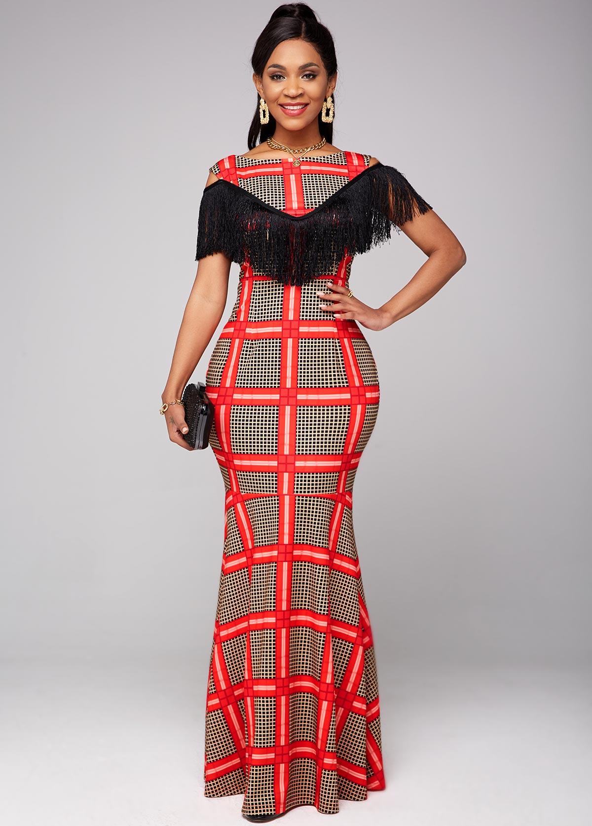 Cold Shoulder Plaid Tassel Detail Dress