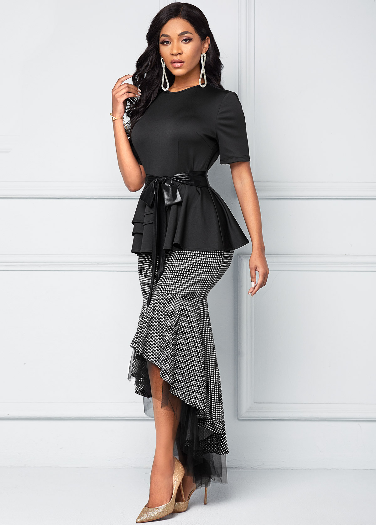 Mesh Stitching Houndstooth Print Belted Dress