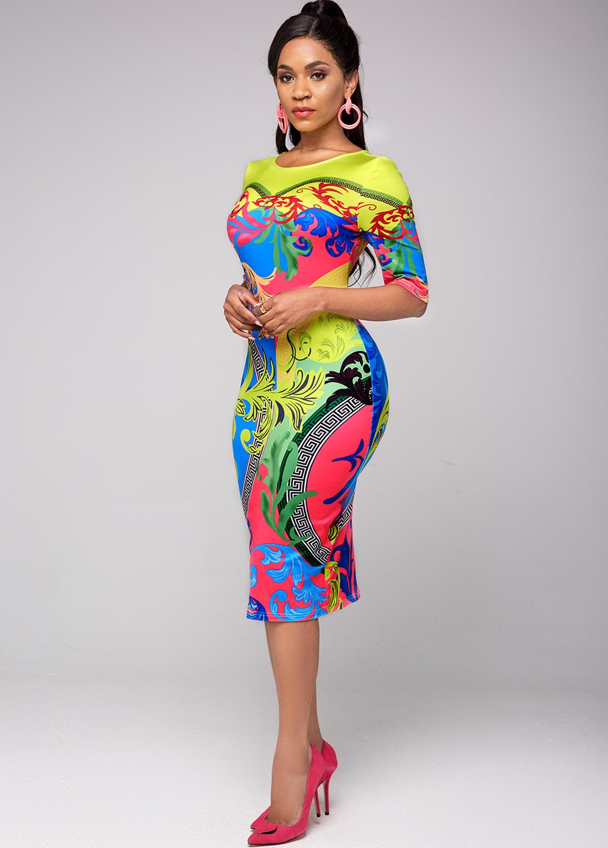 Half Sleeve Tribal Print Round Neck Dress