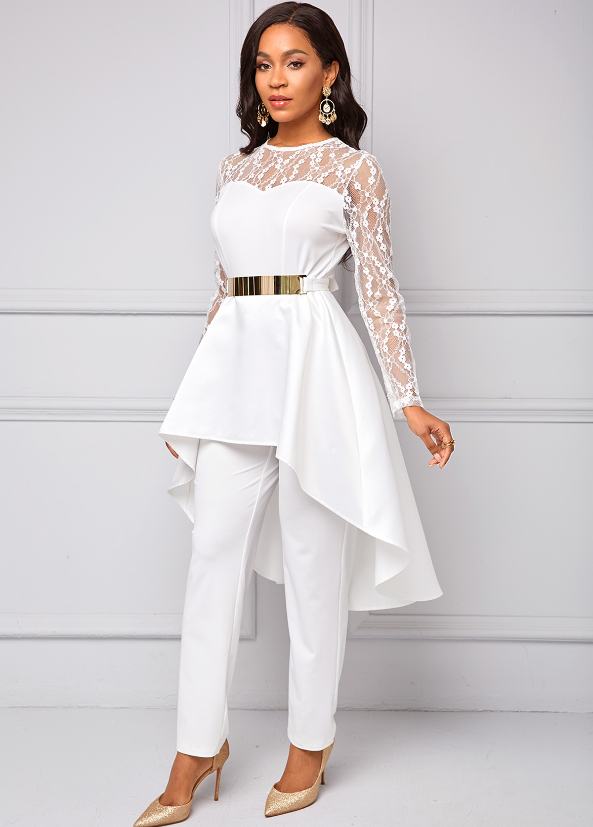Belted Lace Stitching Dovetail Pendulum Jumpsuit
