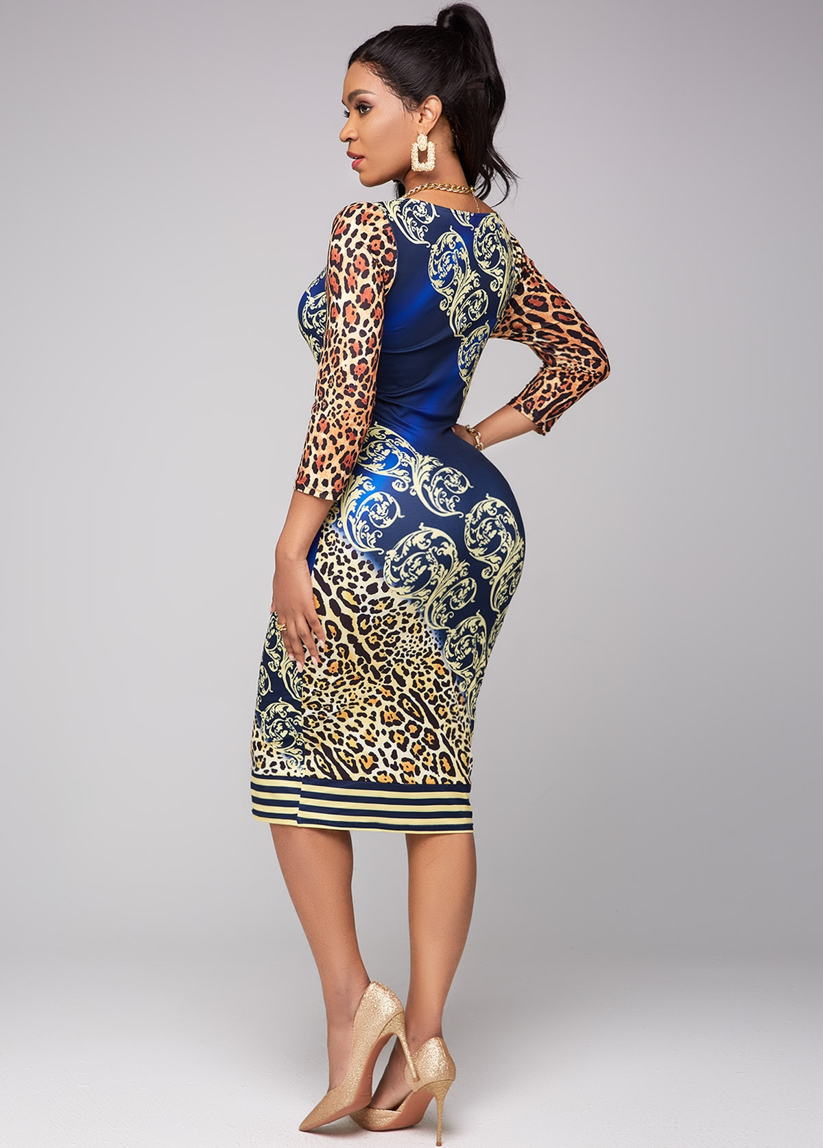 3/4 Sleeve Leopard Round Neck Dress