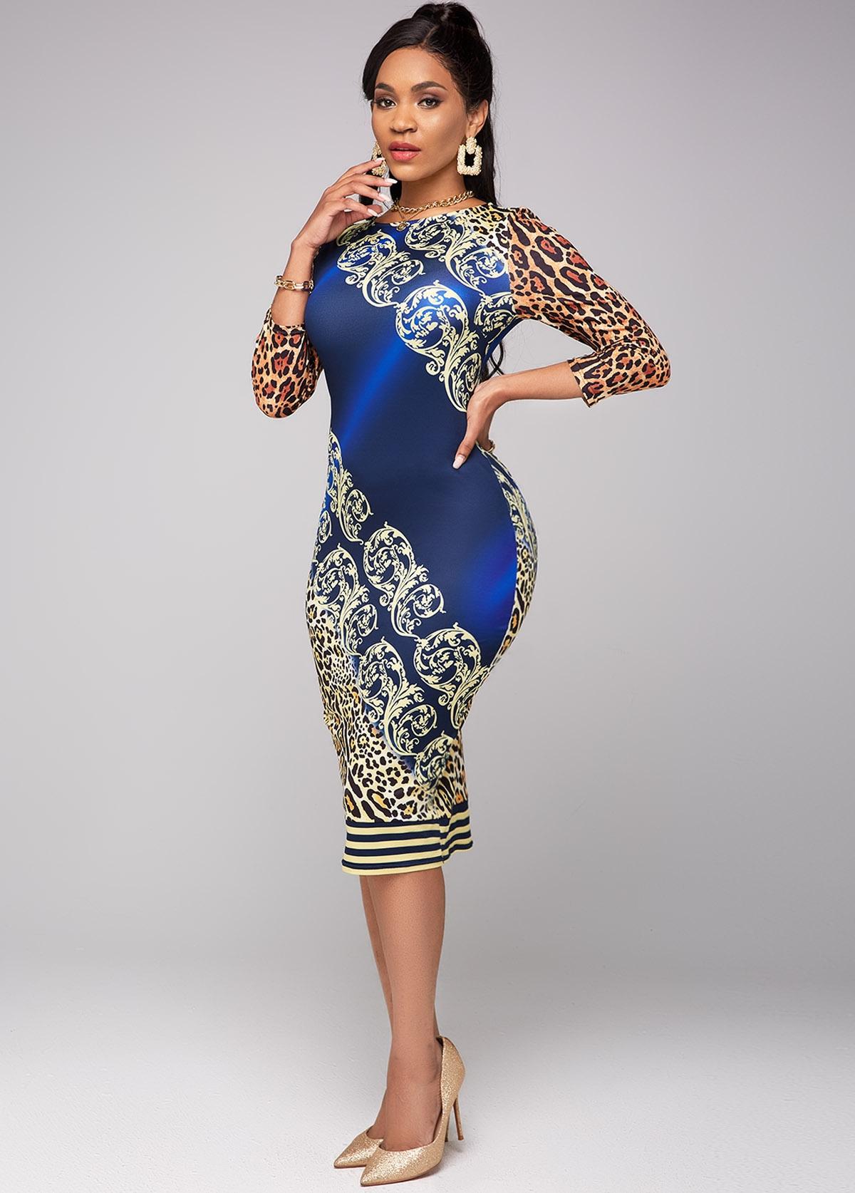 3/4 Sleeve Leopard Round Neck Dress