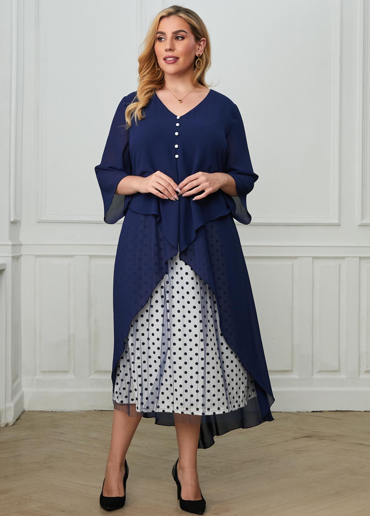 Plus Size Mesh Stitching Polka Dot Layered Dress