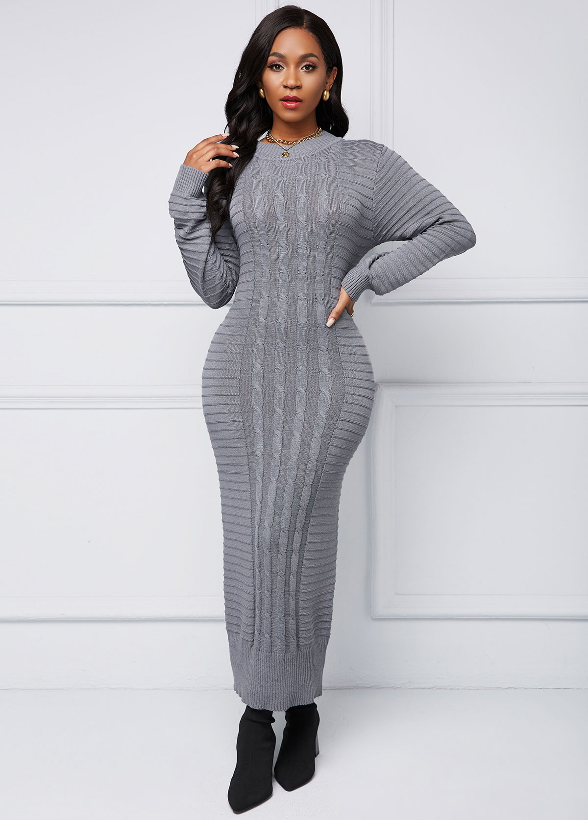 Cable Knit Round Neck Long Sleeve Sweater Dress