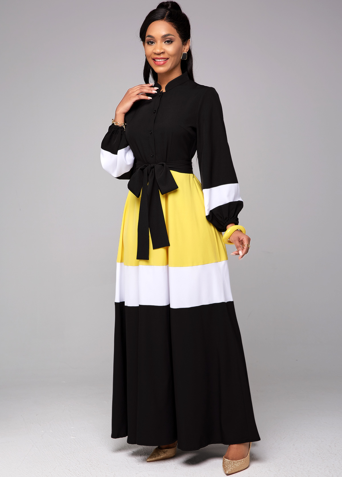 Tie Front Contrast Long Sleeve Dress
