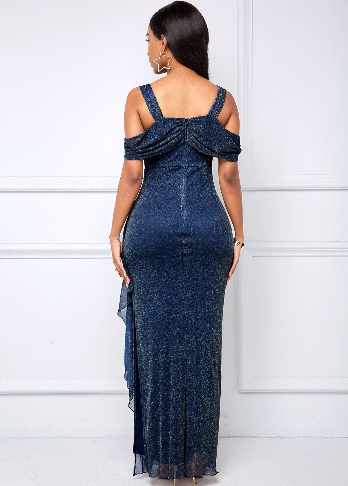 Side Slit Bright Silk Strappy Cold Shoulder Dress