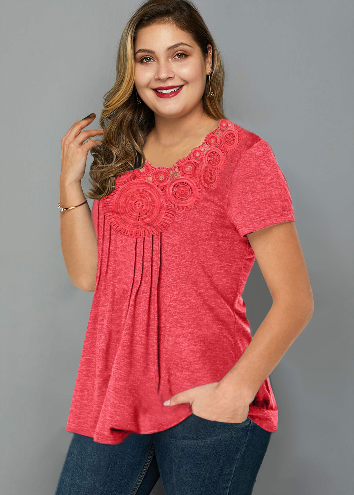 Crinkle Chest Short Sleeve Plus Size T Shirt