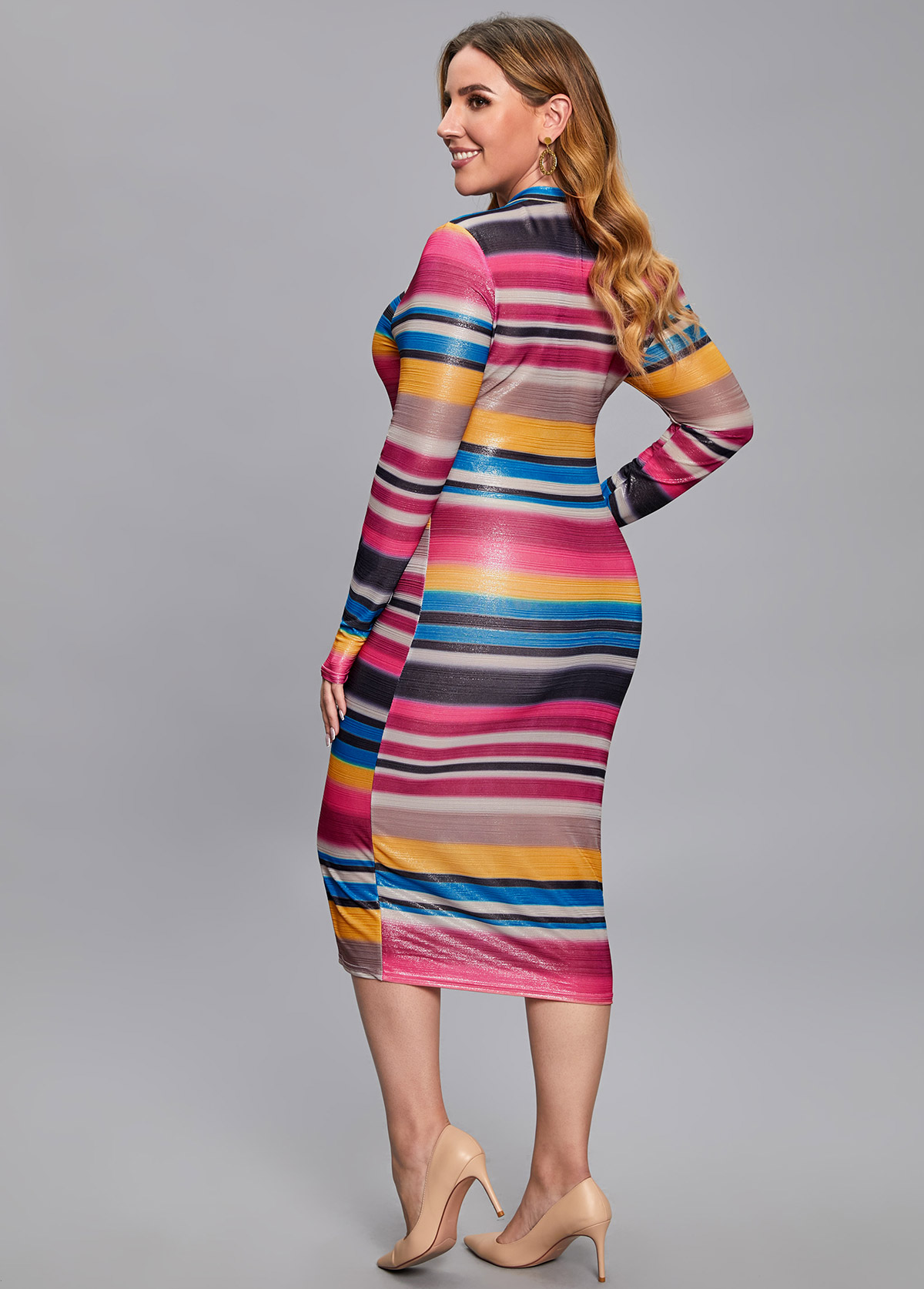 Rainbow Stripe Quarter Zip Plus Size Dress