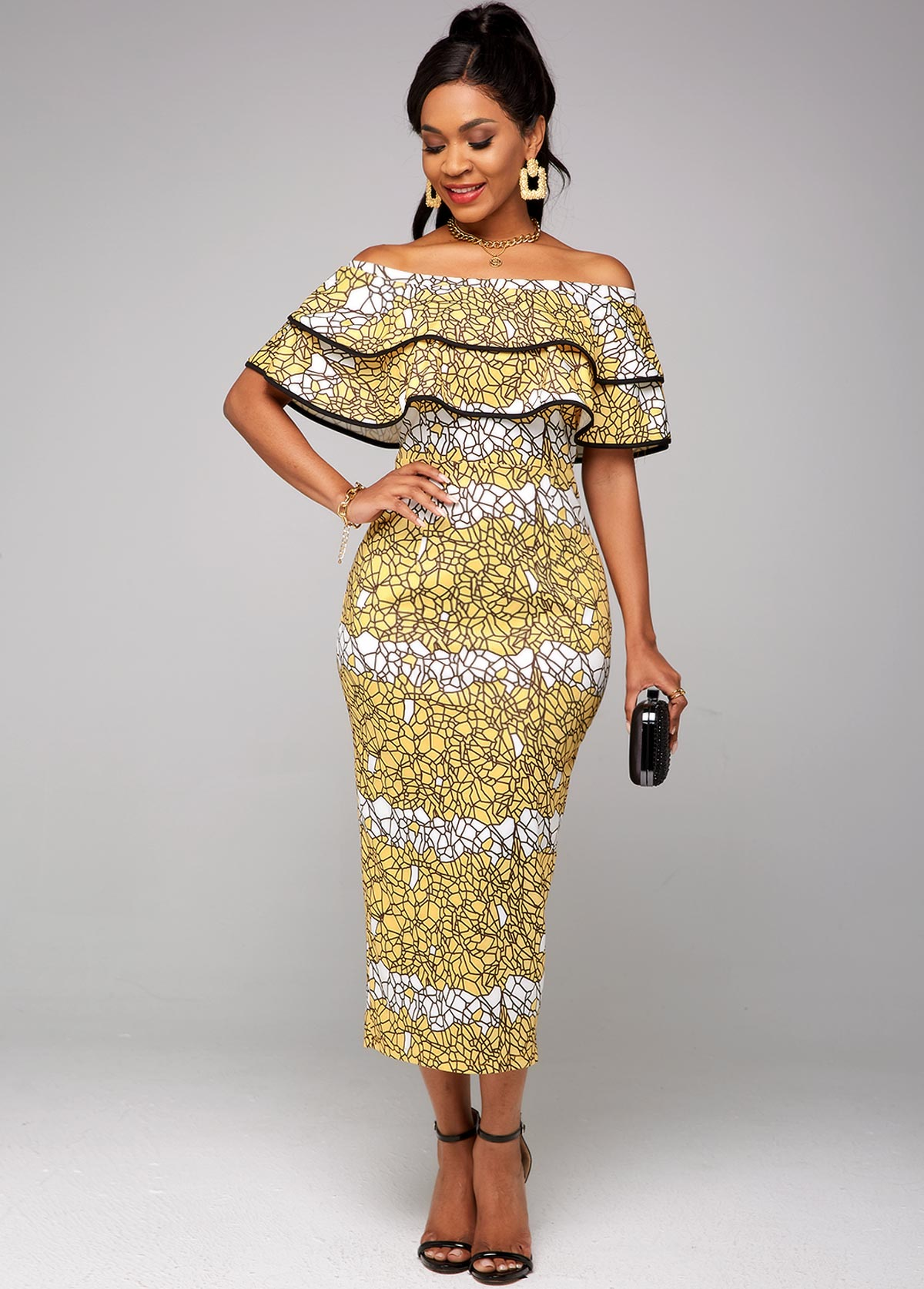 Ruffle Overlay Printed Off Shoulder Dress