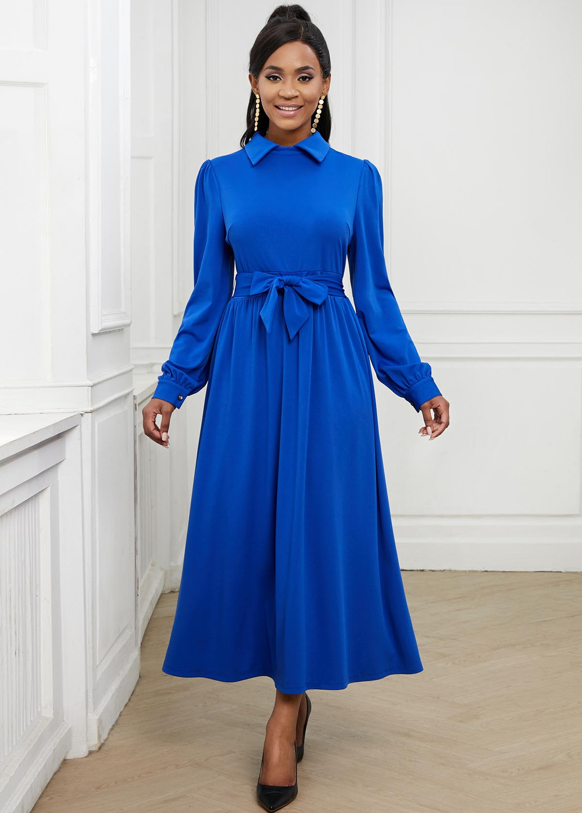 Bowknot Sash Long Sleeve Turndown Collar Swing Dress