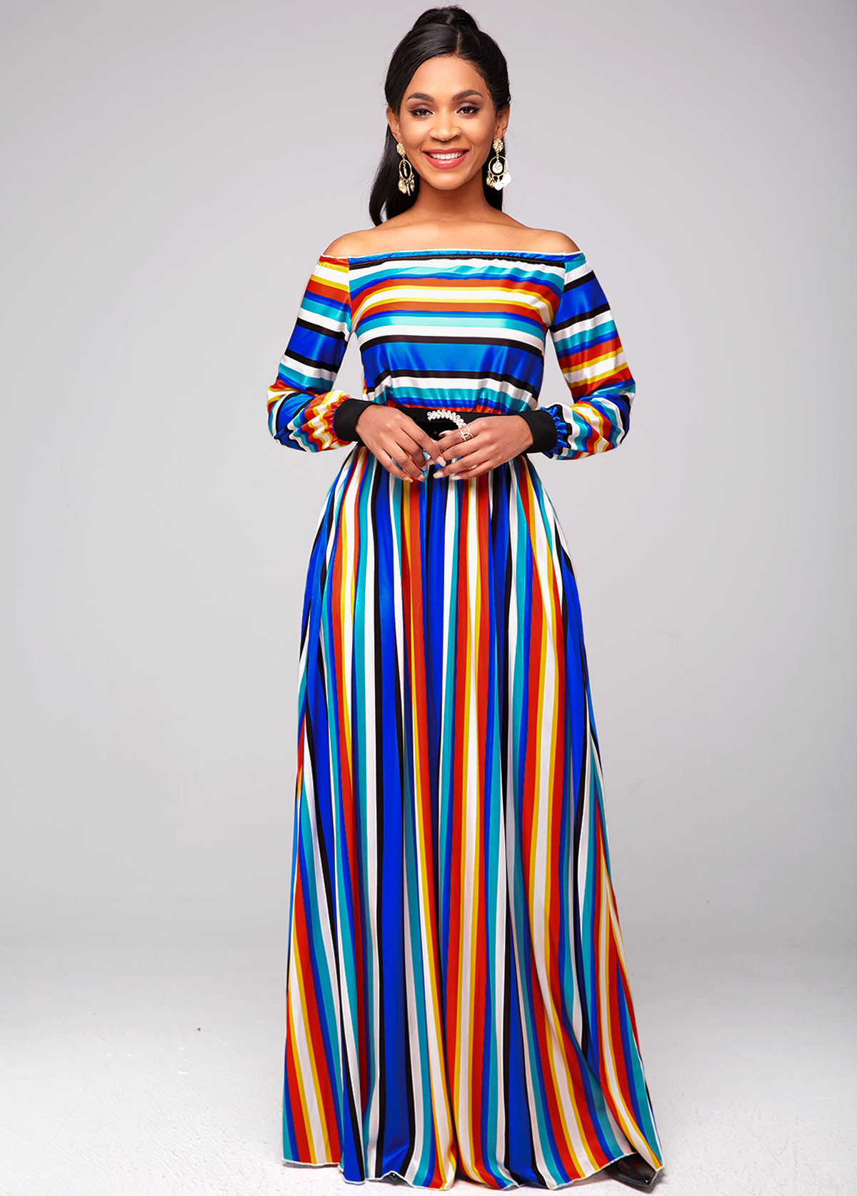 Off Shoulder Top and Rainbow Color Striped Skirt