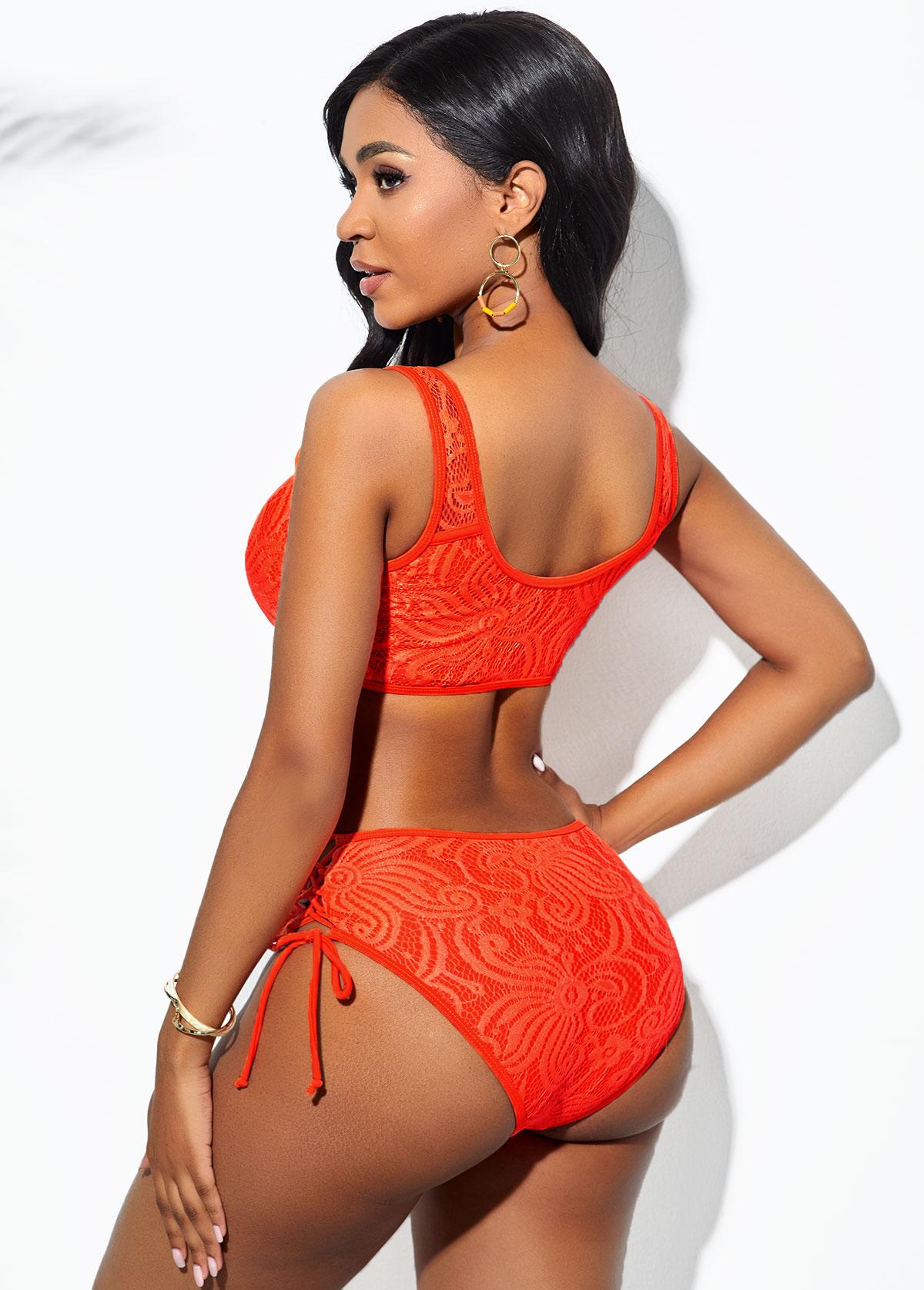Lace Stitching Tie Front Bikini Set