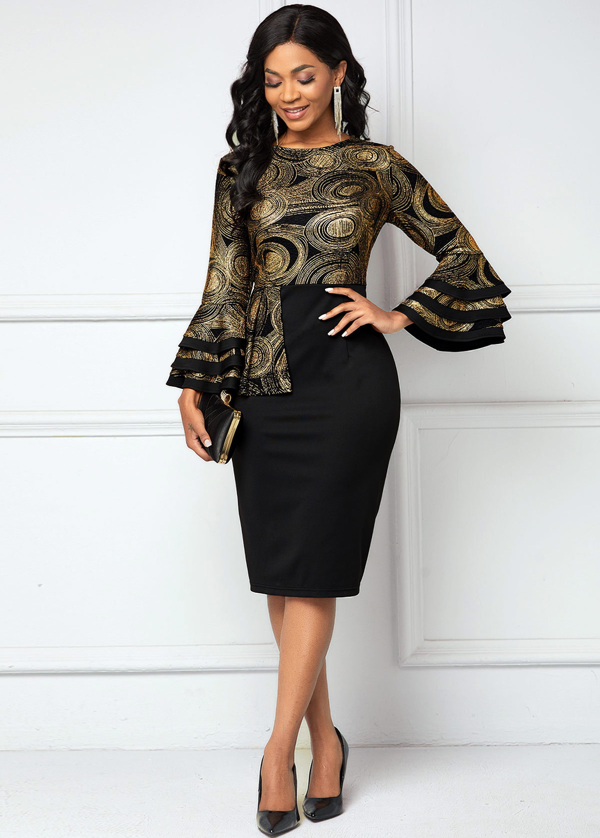 Round Neck Layered Bell Sleeve Printed Dress
