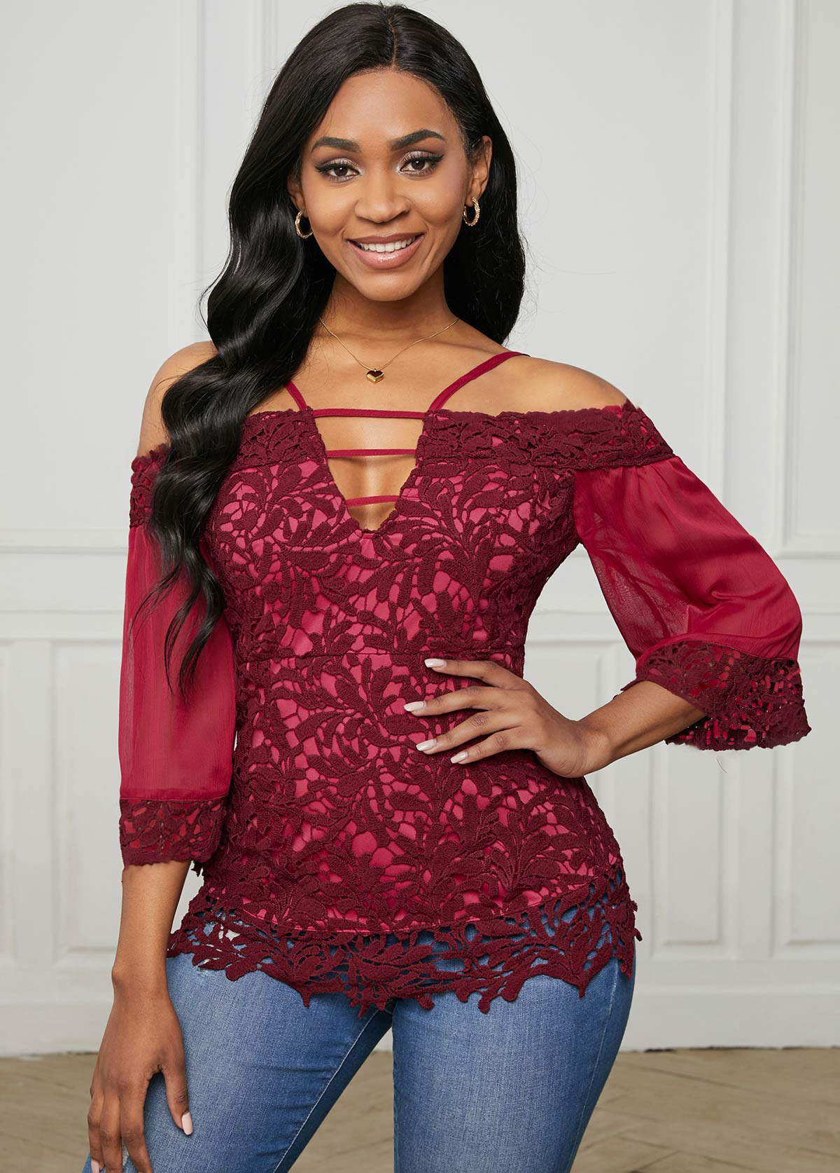 Ladder Cutout Lace Stitching 3/4 Sleeve Blouse