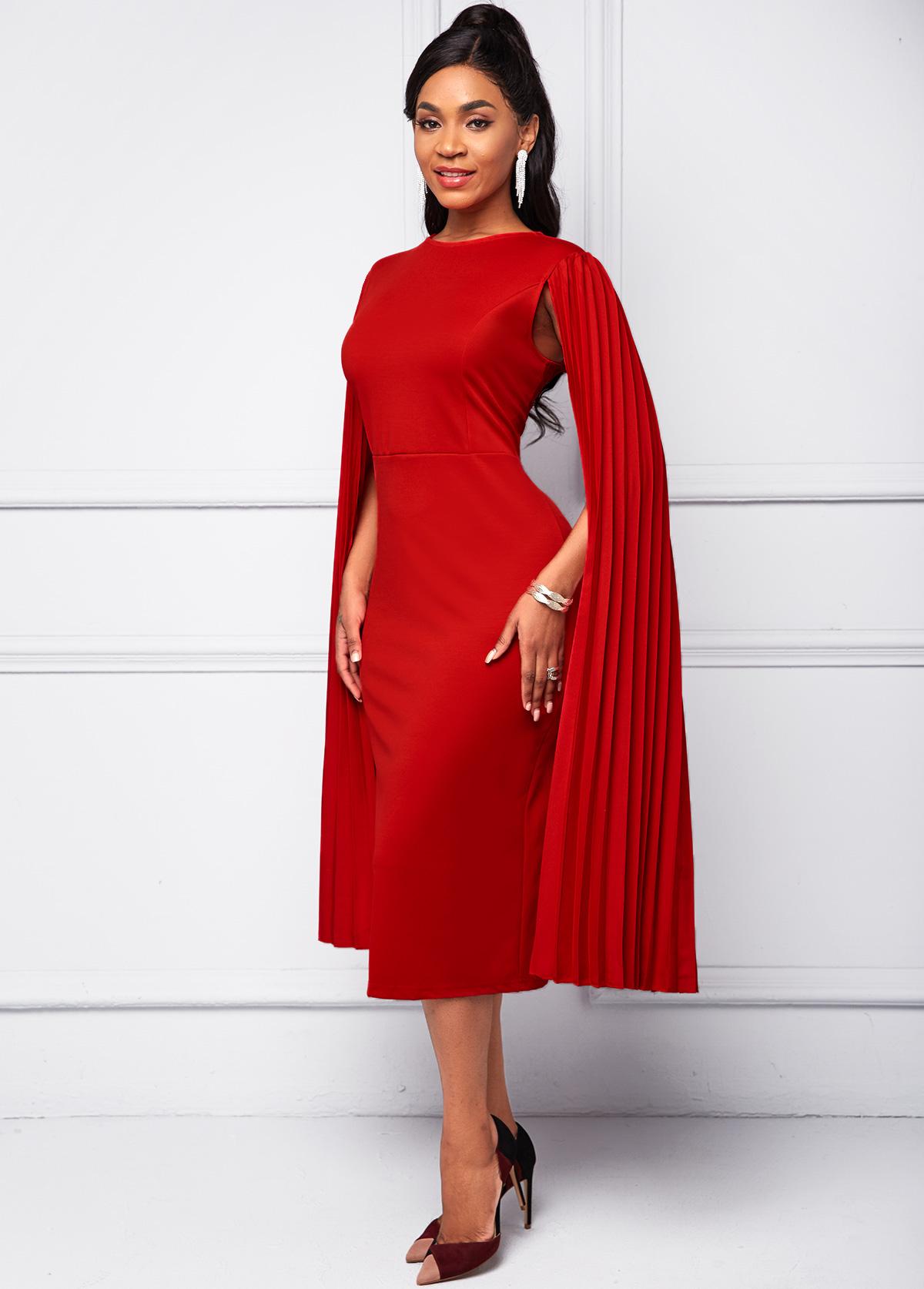 Red Cape Sleeve Round Neck Bodycon Dress
