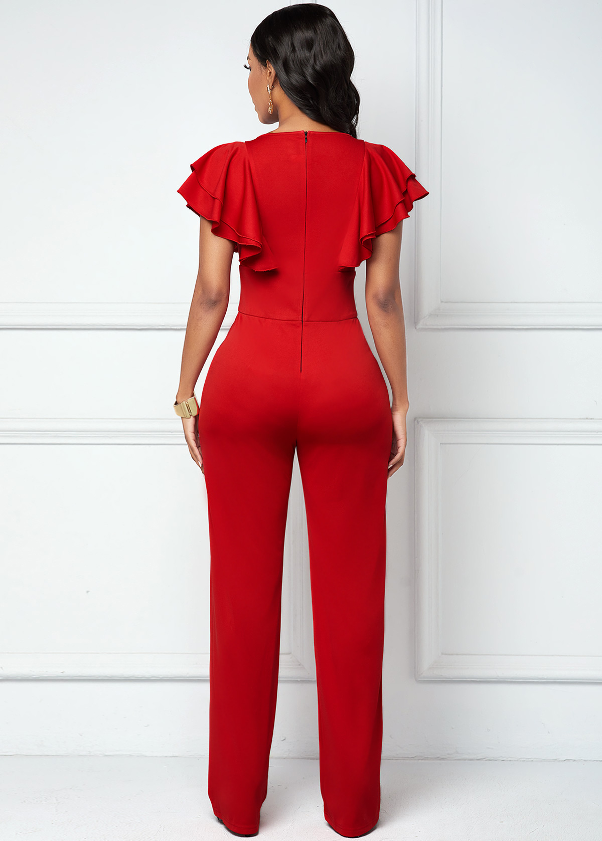 Red Butterfly Sleeve V Neck Jumpsuit